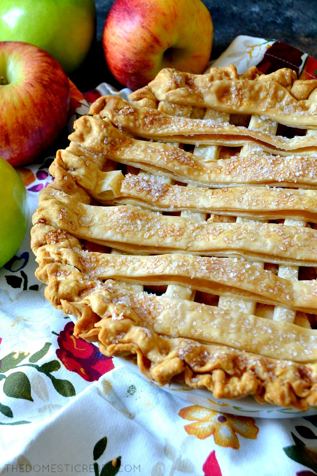 whole apple pie with a lattice pattern crust