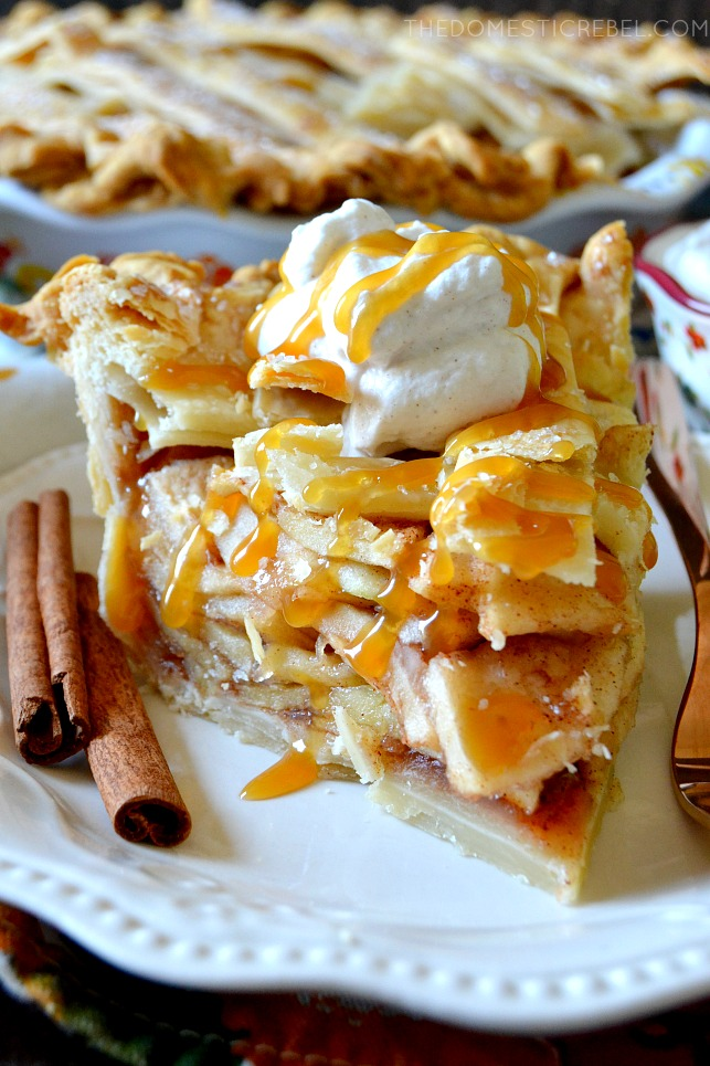 slice of apple pie with whipped cream and caramel