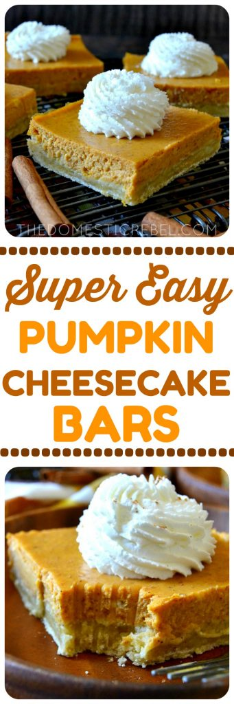 super easy pumpkin cheesecake bars collage