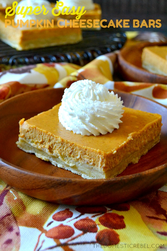 Super Easy Pumpkin Cheesecake Bars The Domestic Rebel
