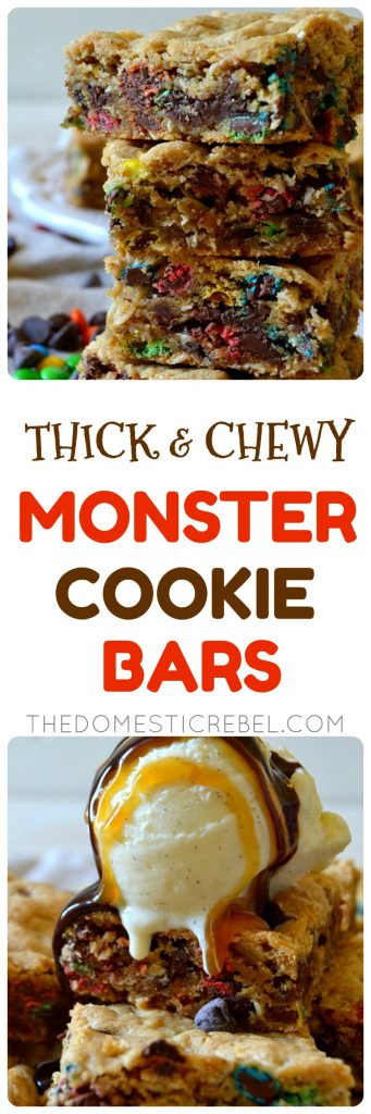thick & chewy monster cookie bars collage