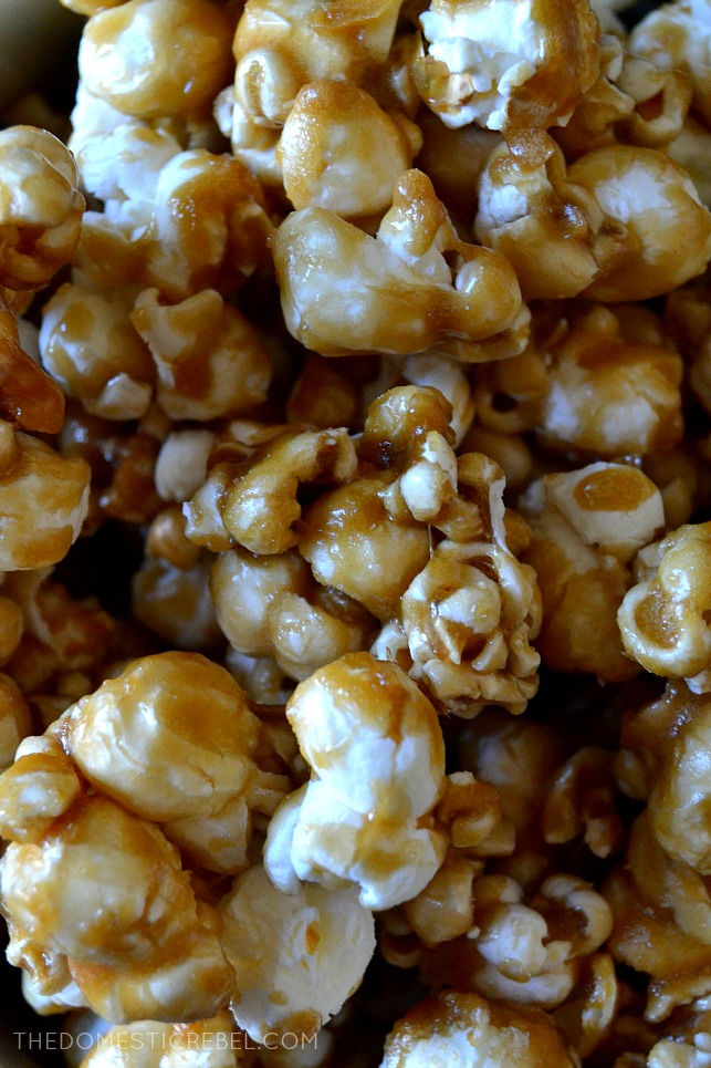This BEST-EVER Caramel Popcorn is SO perfect! Easy to make, yields a HUGE batch, is great for gifts and perfect for snacking. Buttery, crispy, crunchy, sweet & salty perfection!