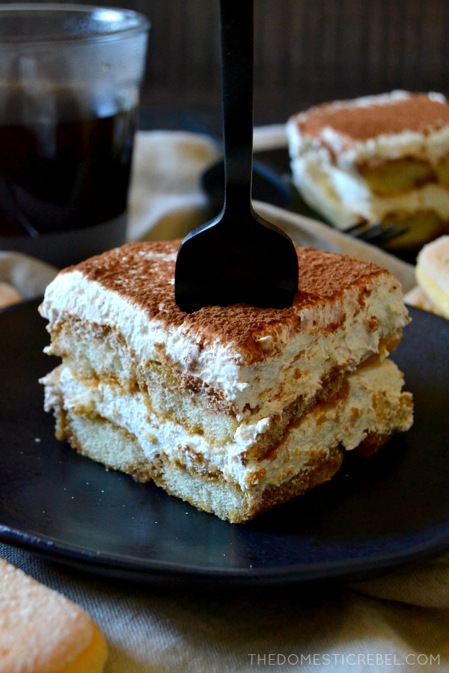 slice of tiramisu with a fork in it