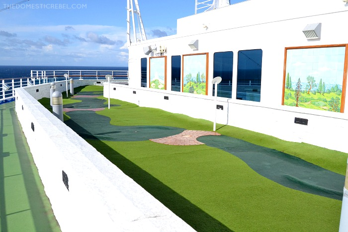Mini golf course on top of the Ruby Princess