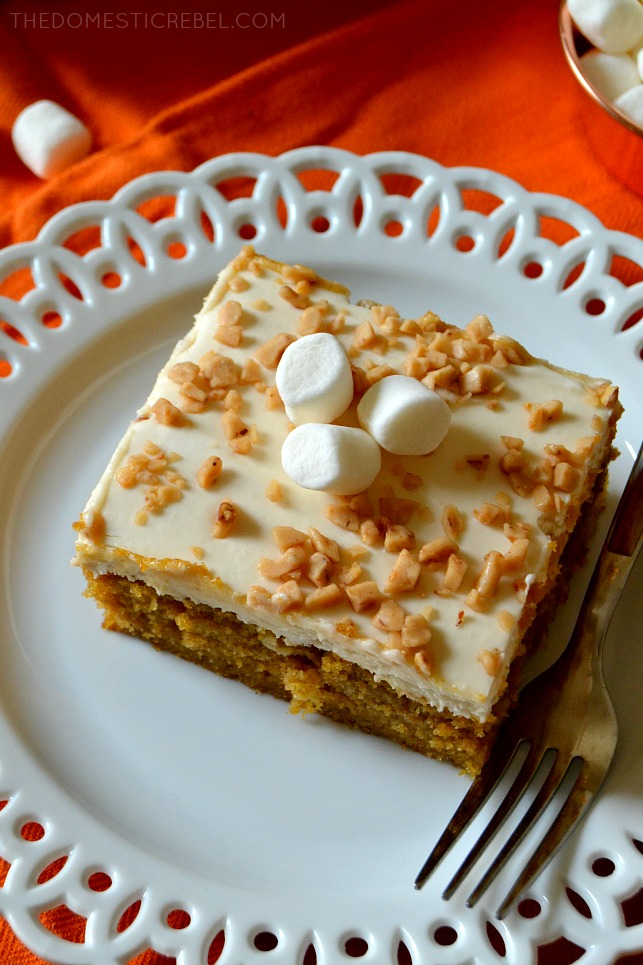 slice of sweet potato sheet cake on a white plate