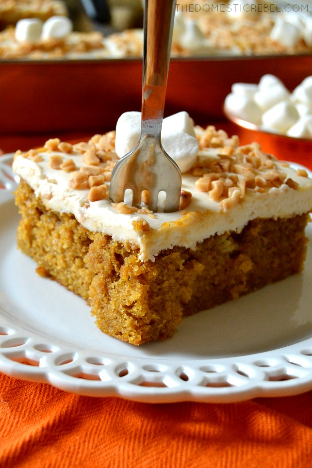 slice of sweet potato sheet cake with a fork in it
