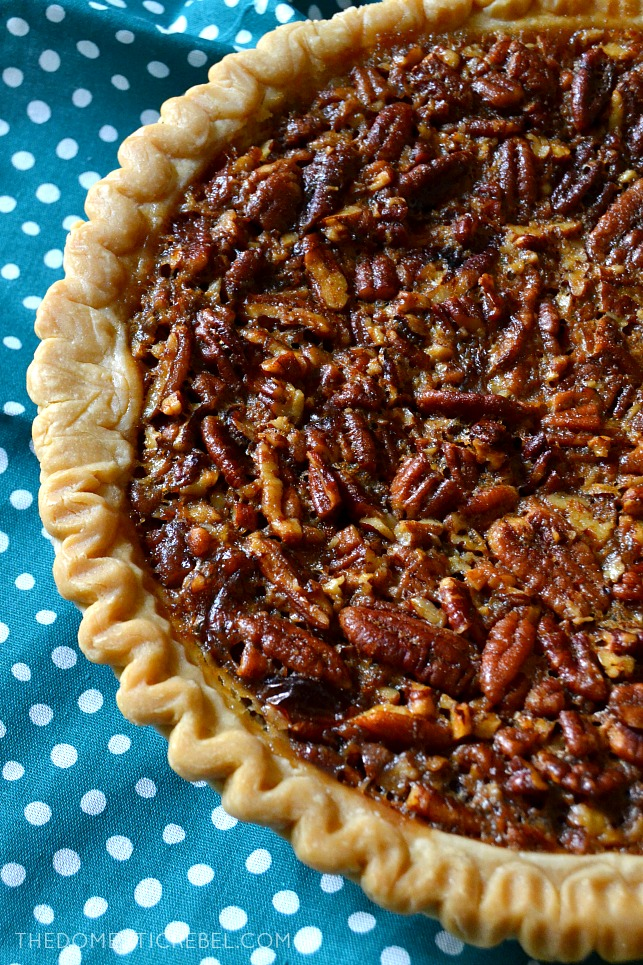 Dad's Favorite Bourbon Pecan Pie is a fun twist on a classic: rich, complex bourbon adds tremendous flavor to this rich and gooey pecan pie! Perfect for the holidays, it's super easy and everyone will adore the incredible flavor!