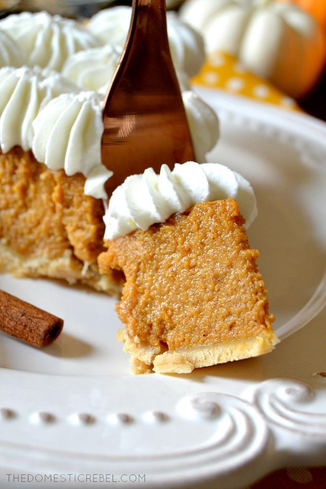 bite of pumpkin pie on a fork