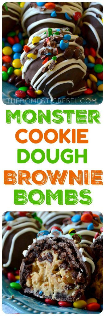"These Monster Cookie Dough Brownie Bombs are DELICIOUS! ""Monster"" cookie dough flavored with peanut butter, oats, chocolate chips and M&M's is surrounded by a fudgy baked brownie and coated in chocolate and more candy! Perfect for parties, gifts, or just to cure a serious chocolate craving!"