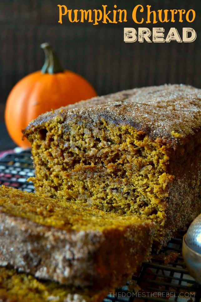 a loaf of pumpkin churro bread with a miniature pumpkin in the background