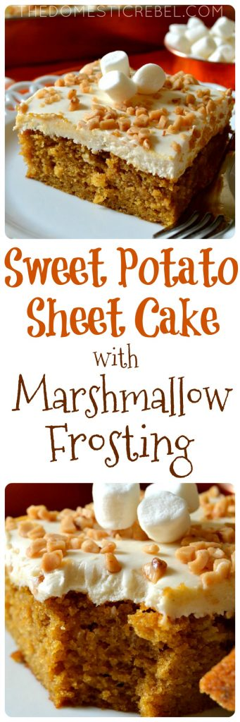 This Sweet Potato Sheet Cake with Marshmallow Frosting is such a delicious, crowd-pleasing cake! Moist, tender sweet potato spice cake topped with a creamy, fluffy marshmallow frosting and crunchy toffee bits. Perfect for fall and winter!