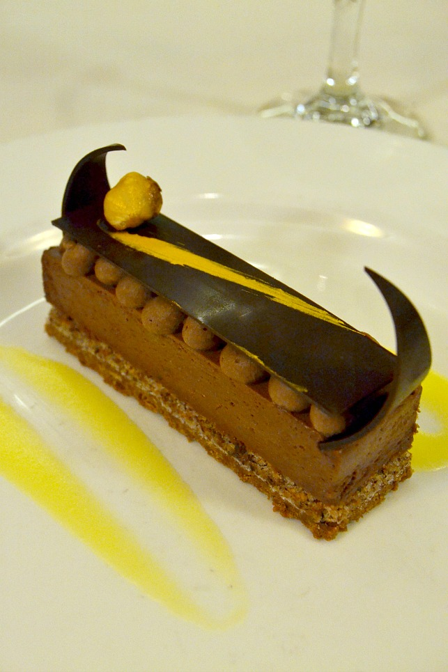 Chocolate Hazelnut Bar with Citrus Cream from Michelangelo Dining Room on-board the Ruby Princess.