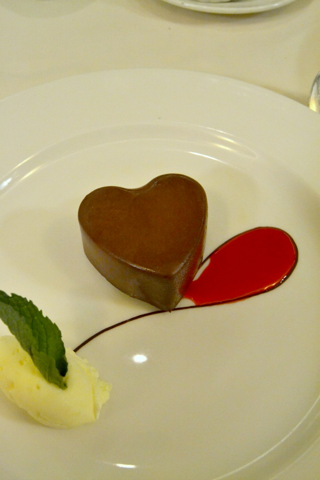 Heart-shaped mousse brownie on-board the Ruby Princess.
