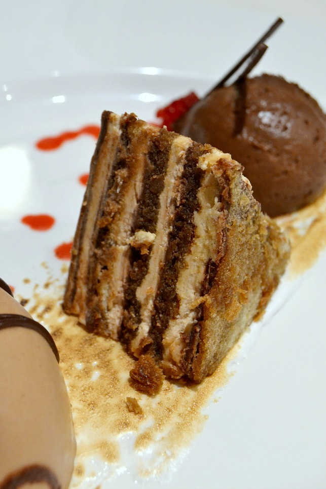 Chocolate Tiramisu Cake on-board the Ruby Princess cruise ship.