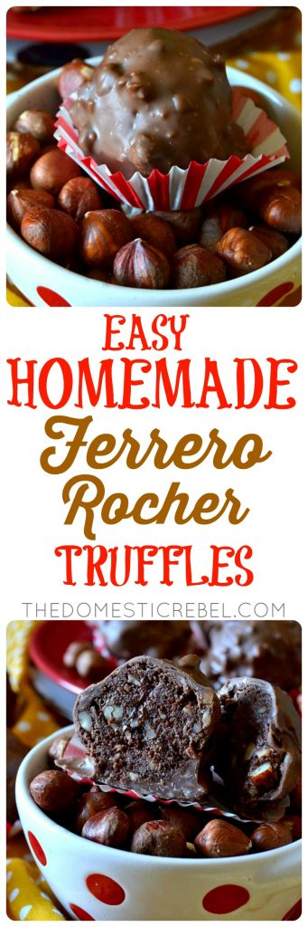 easy homemade ferrero rocher truffles collage