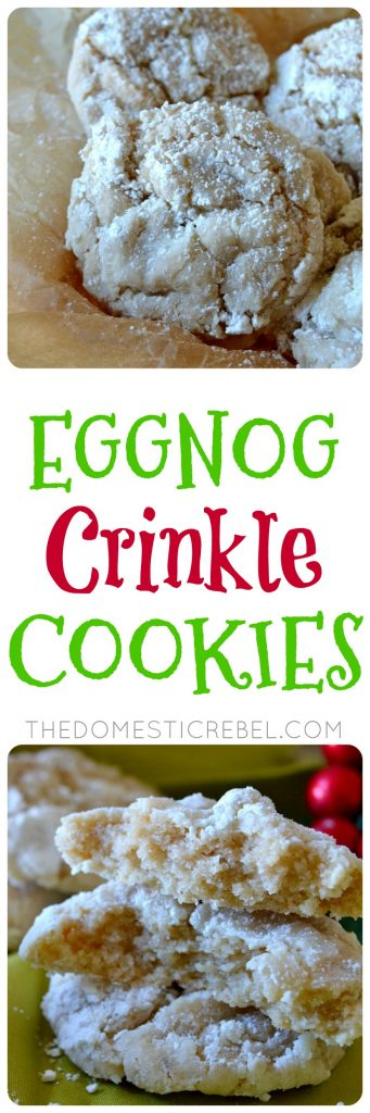 eggnog crinkle cookies collage