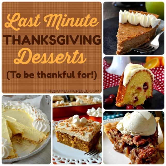 Last Minute Thanksgiving Dessert Ideas to be super thankful for! From pies to cakes and more, there's sure to be a show-stopping dessert you'll love!