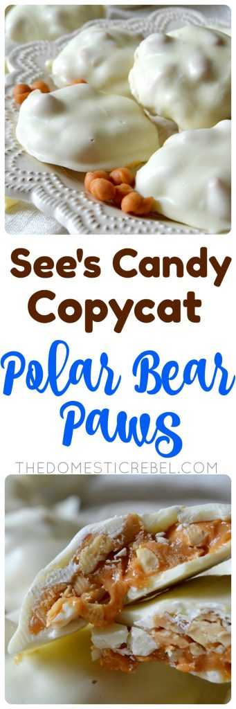 see's candy copycat polar bear paws collage