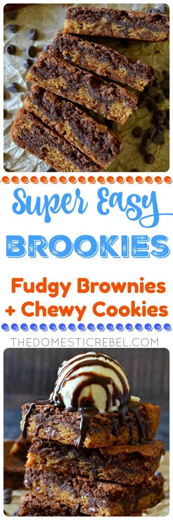 super easy brookies fudgy brownies + chewy cookies collage