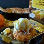 Skillet Apple Cinnamon Cornbread Cobbler is a fantastic twist on apple pie or fruit cobbler! Tender apples topped with fluffy cinnamon-sugar-covered cornbread cobbler straight from the skillet! It's almost mandatory to serve it with ice cream! #ad
