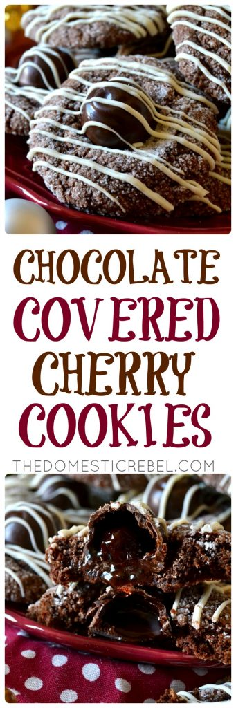 These Chocolate-Covered Cherry Cookies are so flavorful and easy! A fudgy, super chocolaty cookie is topped with a gooey cherry cordial candy and drizzled with sweet white chocolate. Impressive, gorgeous, and so tasty!