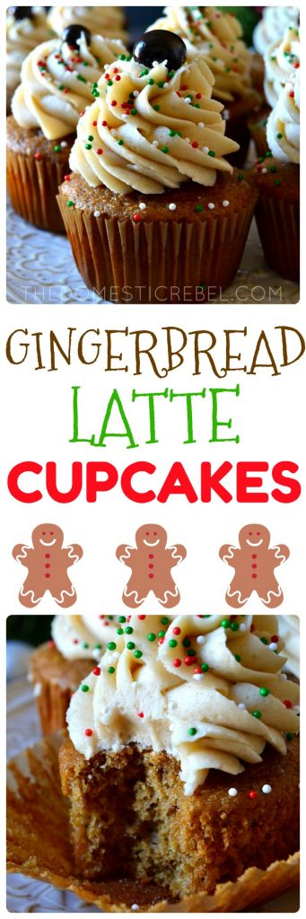 These Gingerbread Latte Cupcakes are FANTASTIC! Moist, fluffy, spicy gingerbread molasses cupcakes are topped with a fluffy, creamy brown sugar buttercream frosting and a chocolate-covered espresso bean. So delicious, perfect for the holidays, and festive!