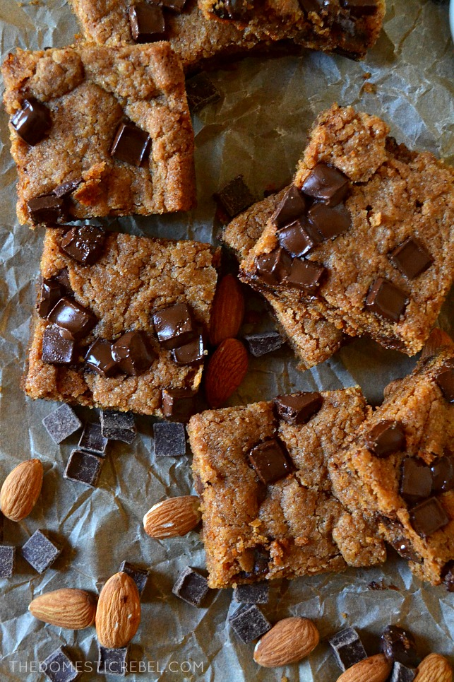 Whole Wheat Almond Butter Blondies are packed with good-for-you ingredients while still tasting sinful! Buttery, tender, chewy, gooey brown sugar whole wheat blondies made with creamy almond butter and dark chocolate chips!