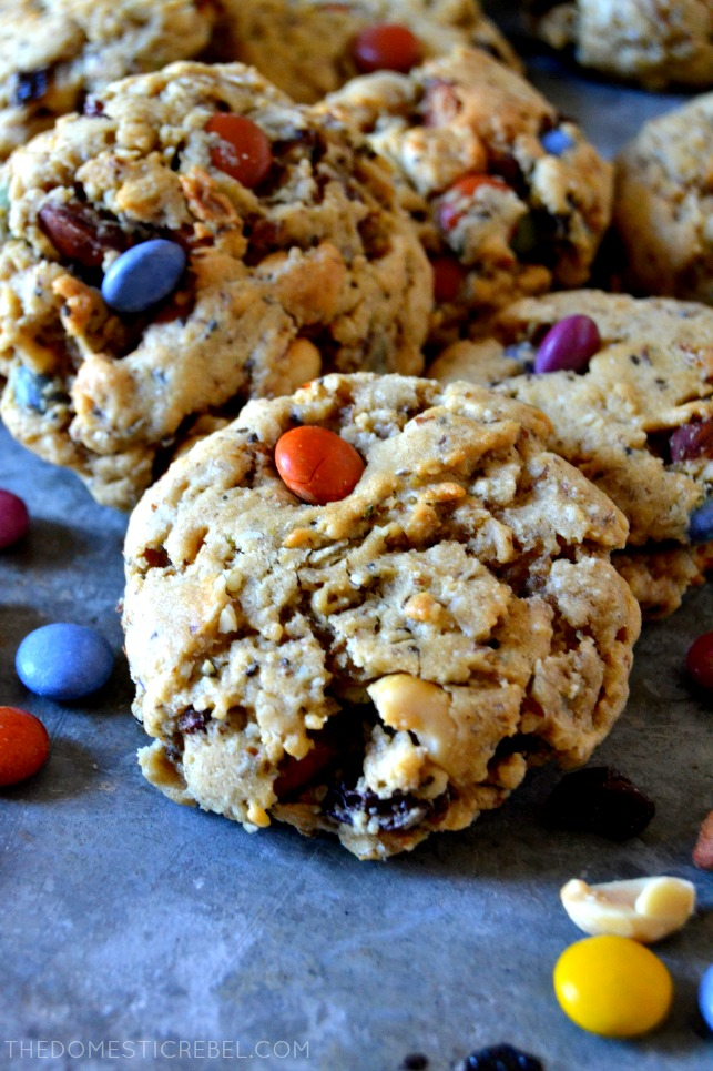 trail mix energy cookie propped on other cookies