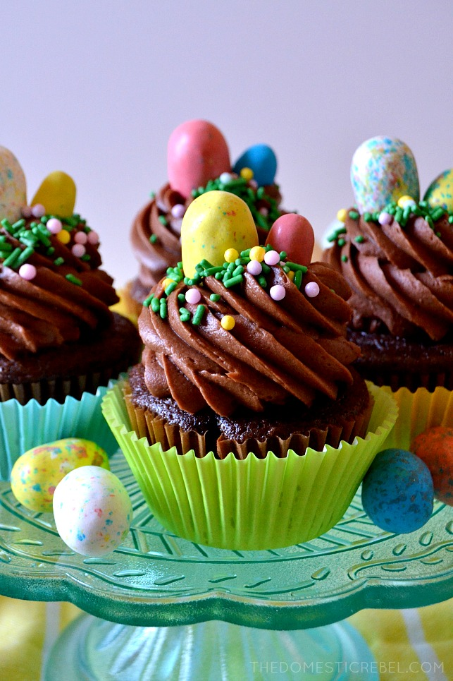 chocolate malt cupcakes arranged on cake stand next to robins egg candies