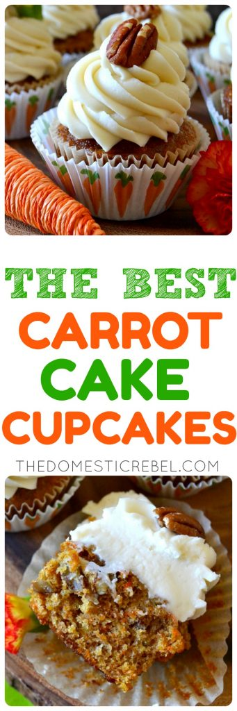 These are the BEST Carrot Cake Cupcakes EVER! Moist, fluffy, with a tender crumb and a perfectly spiced cake studded with fresh carrots, juicy pineapple, and crunchy pecans, then topped with a mountainous swirl of luscious cream cheese frosting! You don't need any other recipe for carrot cake!