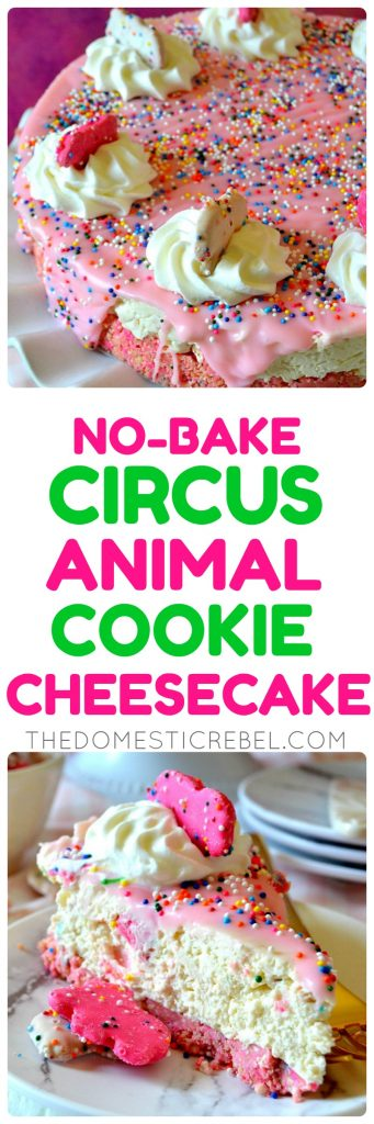 no-bake circus animal cookie cheesecake collage