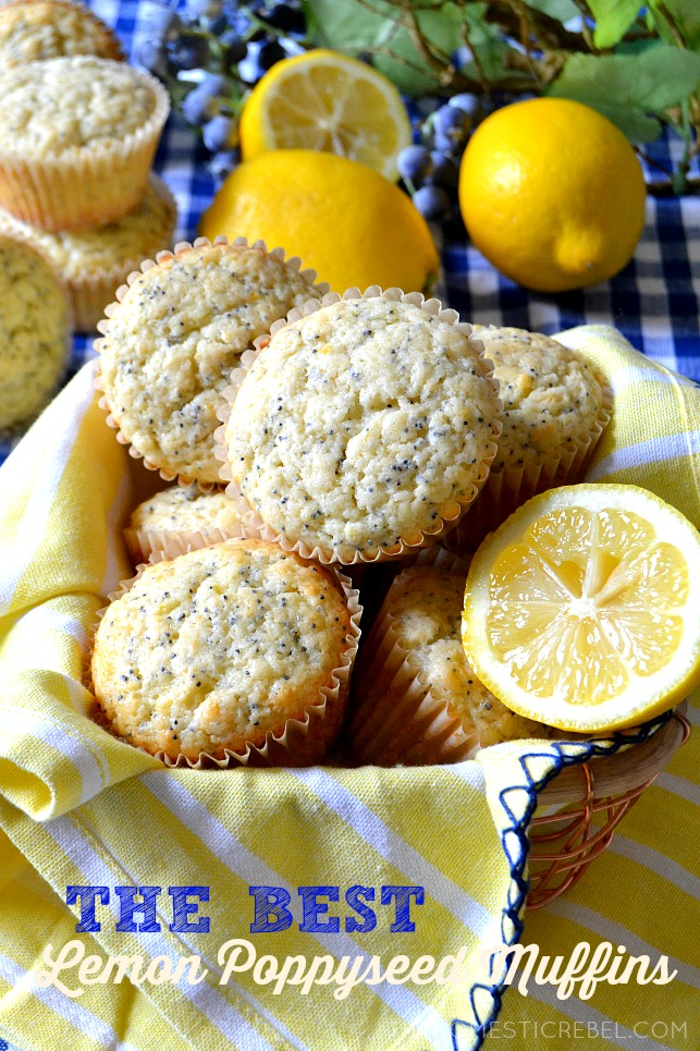 lemon poppyseed muffins arranged in a wire basket
