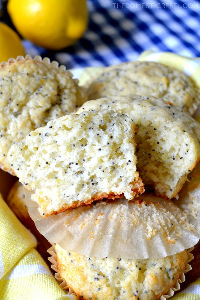 one lemon poppyseed muffin cut in half to show the center