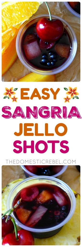 These EASY Sangria Jello Shots are FANTASTIC and perfect for any party! Only a few simple ingredients, made quickly, and pleases a big crowd since it's easily doubled or tripled!