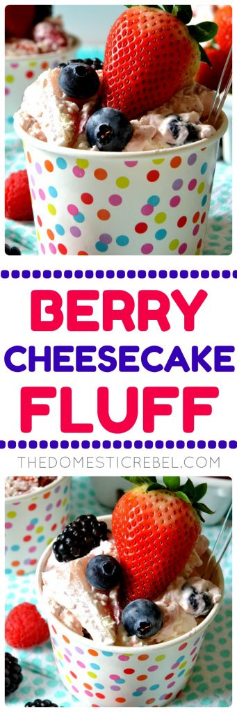 berry cheesecake fluff collage