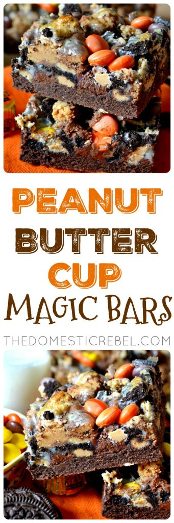 These PEANUT BUTTER CUP Magic Bars are thick and chewy, fudgy and gooey squares of goodness! Loaded with chocolate, peanut butter cups, peanut butter candies and Oreos, they're super indulgent and fabulous!