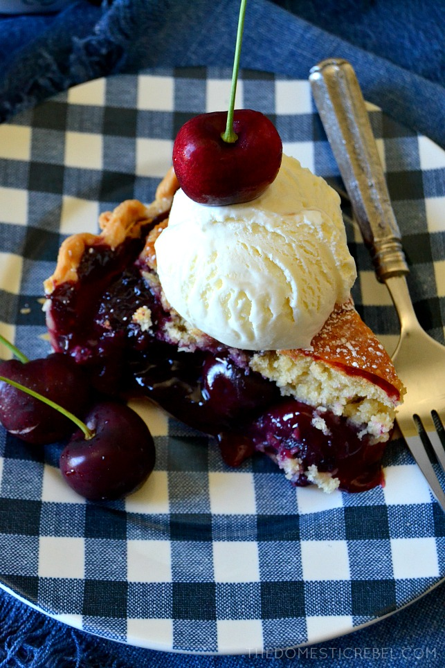This Homemade Cherry Cobbler Pie is a cross between hot and bubbly fruit cobbler and a buttery slice of pie with a homemade gooey, fresh cherry filling! This dessert mashup is INSANE and a great way to use up those cherries!