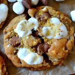 These Toasted S'mores Chocolate Chip Cookies are FANTASTIC, heavenly cookies flavored with s'mores! From the soft and chewy chocolate chip cookie base to the gooey puddles of milk chocolate and toasted sweet marshmallow, you'll love these easy, crowd-pleasing cookies!