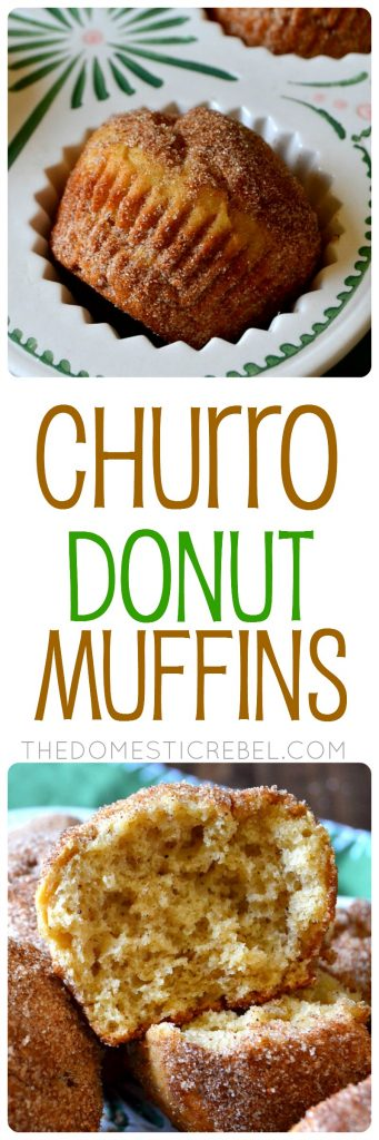 These Churro Donut Muffins are next level! Moist, fluffy, cake-like and tender vanilla and nutmeg-scented muffins dredged in crisp, sparkling cinnamon sugar that taste JUST like a churro! Super easy and so delicious!