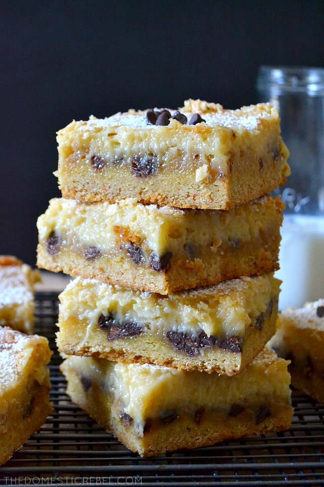 These Chocolate Chip Cookie Dough Gooey Bars are fantastic! Magical layers of a soft and chewy cake base with a layer of gooey, brown sugary, chocolate-studded cookie dough, topped with a luscious cream cheese layer, they're baked to perfection and so indulgent!