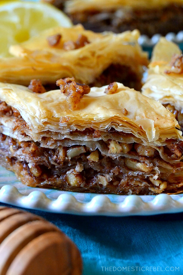 close up of the side of a piece of baklava