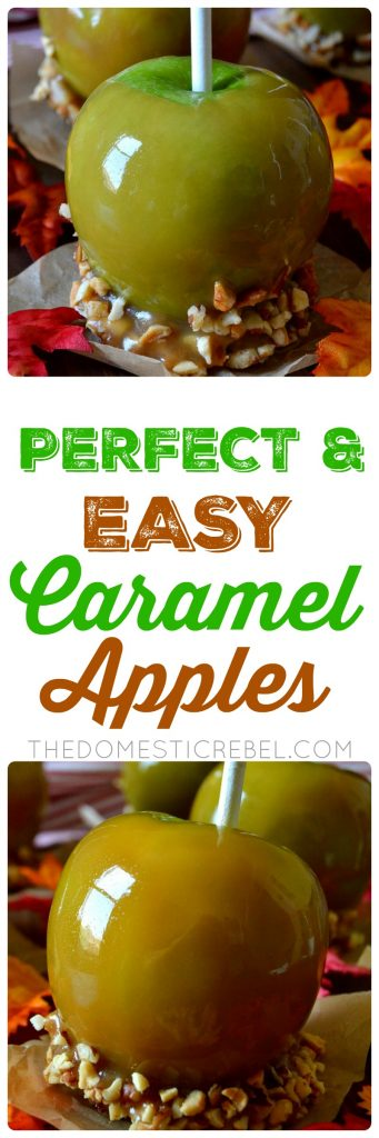 These Caramel Apples are perfect, easy, and totally homemade from scratch! Crisp, juicy apples are coated in a thick layer of buttery caramel and topped with your favorite accessories. Super simple, delicious, and a purely satisfying fall dessert!