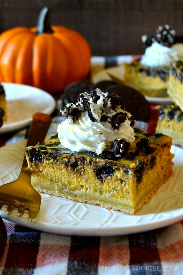 Oreo Pumpkin Cheesecake Bars The Domestic Rebel