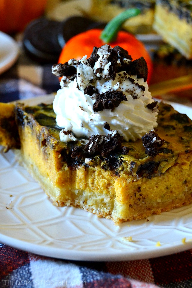 An Oreo pumpkin cheesecake bar with fork marks in it
