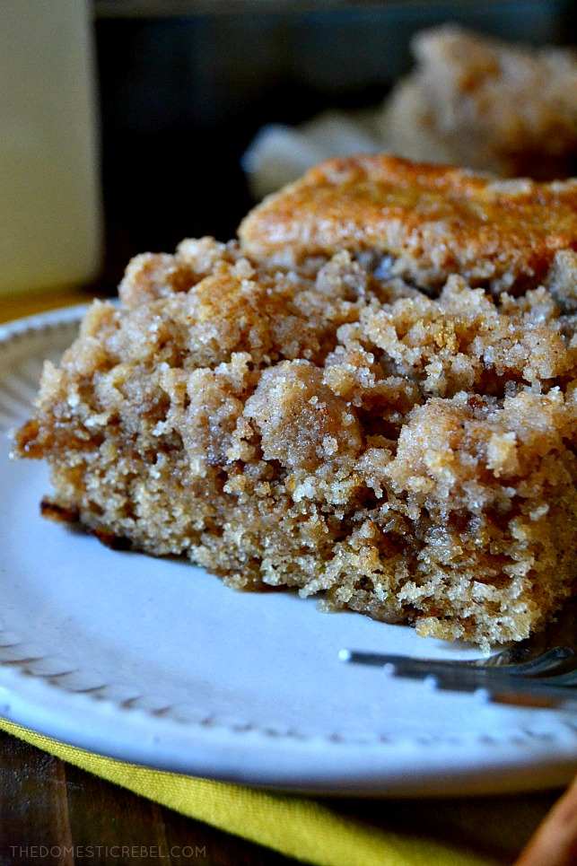 Close up of a slice of coffee cake to show crumbly texture