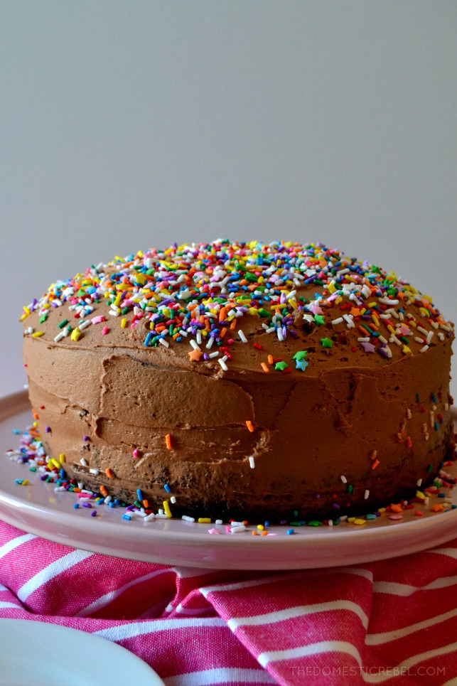 This is the BEST Chocolate Layer Cake with Fudge Frosting recipe! Moist, tender, fluffy cake that's rich with complex chocolate flavor is frosted with a fudgy ganache-like frosting that's light, super rich and so silky smooth! Perfect for any event, this cake will please any crowd!