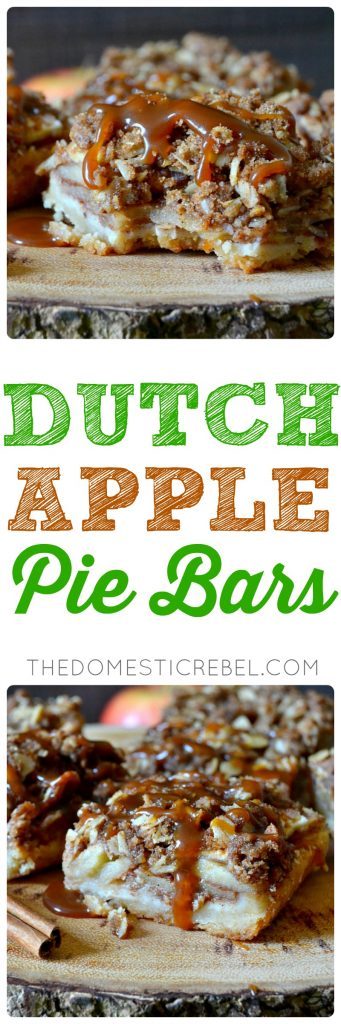 These Dutch Apple Pie Bars are absolute perfection! A buttery shortbread crust supports a thick layer of juicy, tender apples and an irresistible Dutch crumble topping! Perfect for using up those farmers market apples!