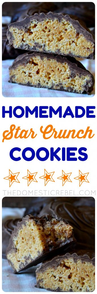 These Homemade Copycat Star Crunch Cookies are so fun and easy to make! A cross between a Rice Krispie Treat, a cookie, and candy, they're gooey, caramel-y, chocolaty goodness in every chewy bite! Super easy and no-bake!