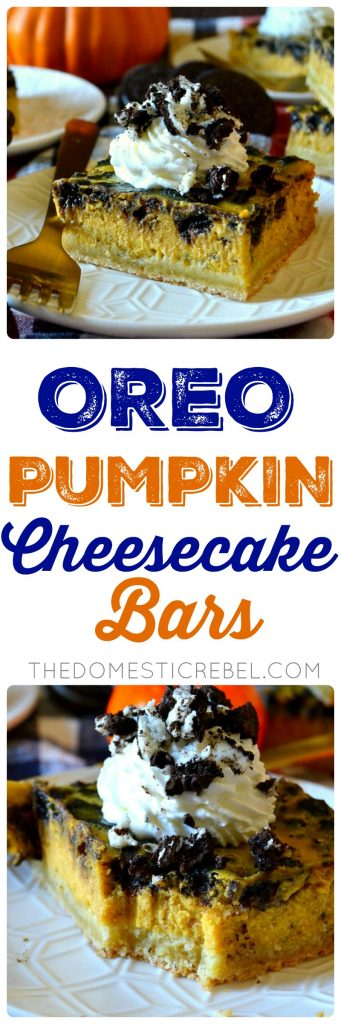These Oreo Pumpkin Cheesecake Bars are heavenly! Silky smooth, perfectly spiced, creamy pumpkin cheesecake filled with crunchy, chocolate Oreo cookie pieces on a buttery shortbread crust. Whipped cream is mandatory for these crowd-pleasing, super simple bars!