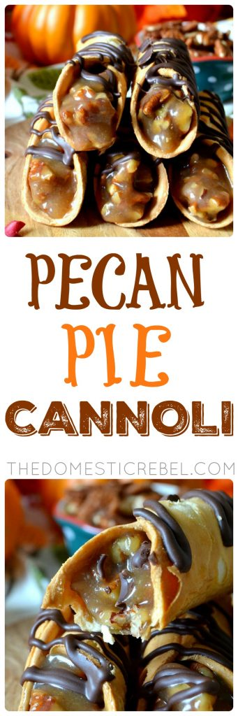 Need a show-stopping dessert? These Pecan Pie Cannoli are IT! Crispy, flaky cannoli shells are filled to the brim with gooey, sticky, sweet, homemade from scratch pecan pie filling! Such a fun twist on two classic desserts for one unique dessert mashup!